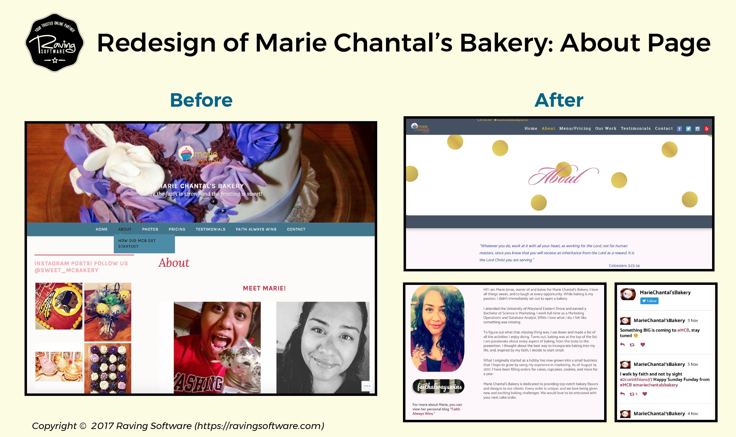 Before and After on Marie Chantal's Bakery website redesign for the about page.