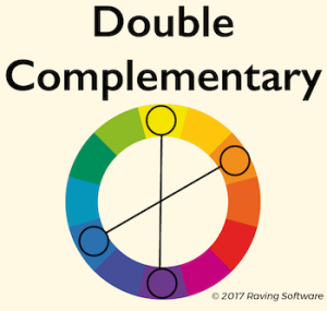 A double complementary color scheme consists of two pairs of complementary colors.