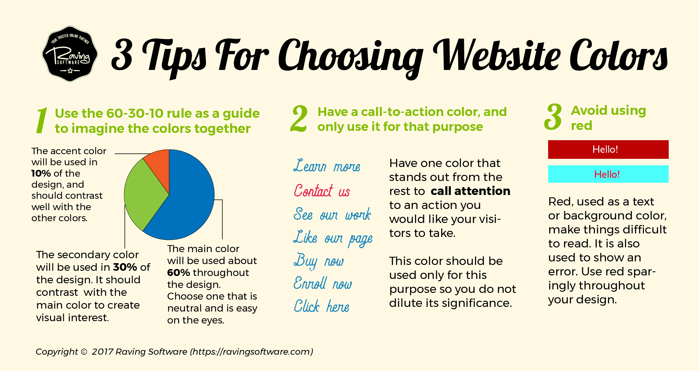 Three tips to consider when picking your website's color scheme