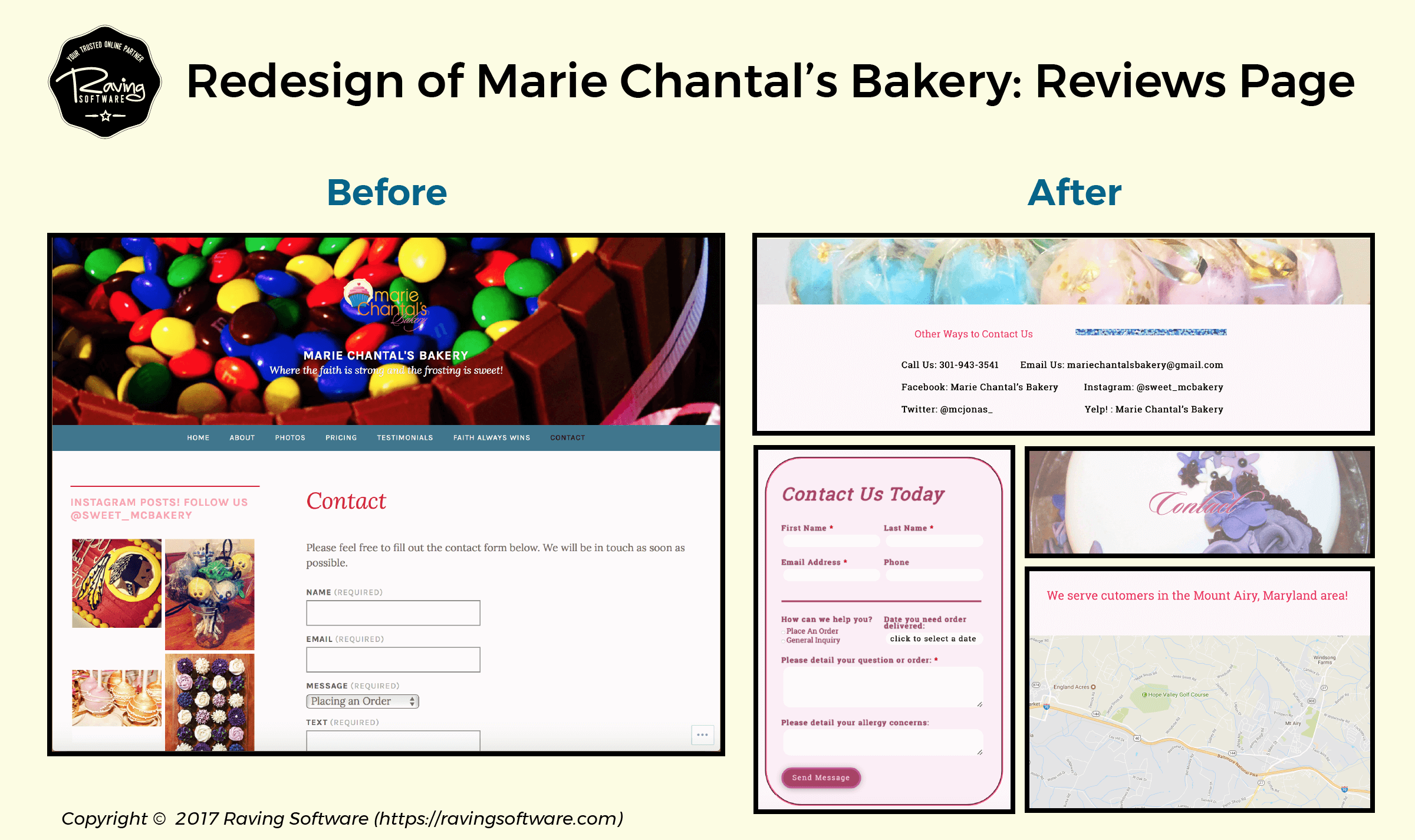 Before and After on Marie Chantal's Bakery website redesign for the contact page.
