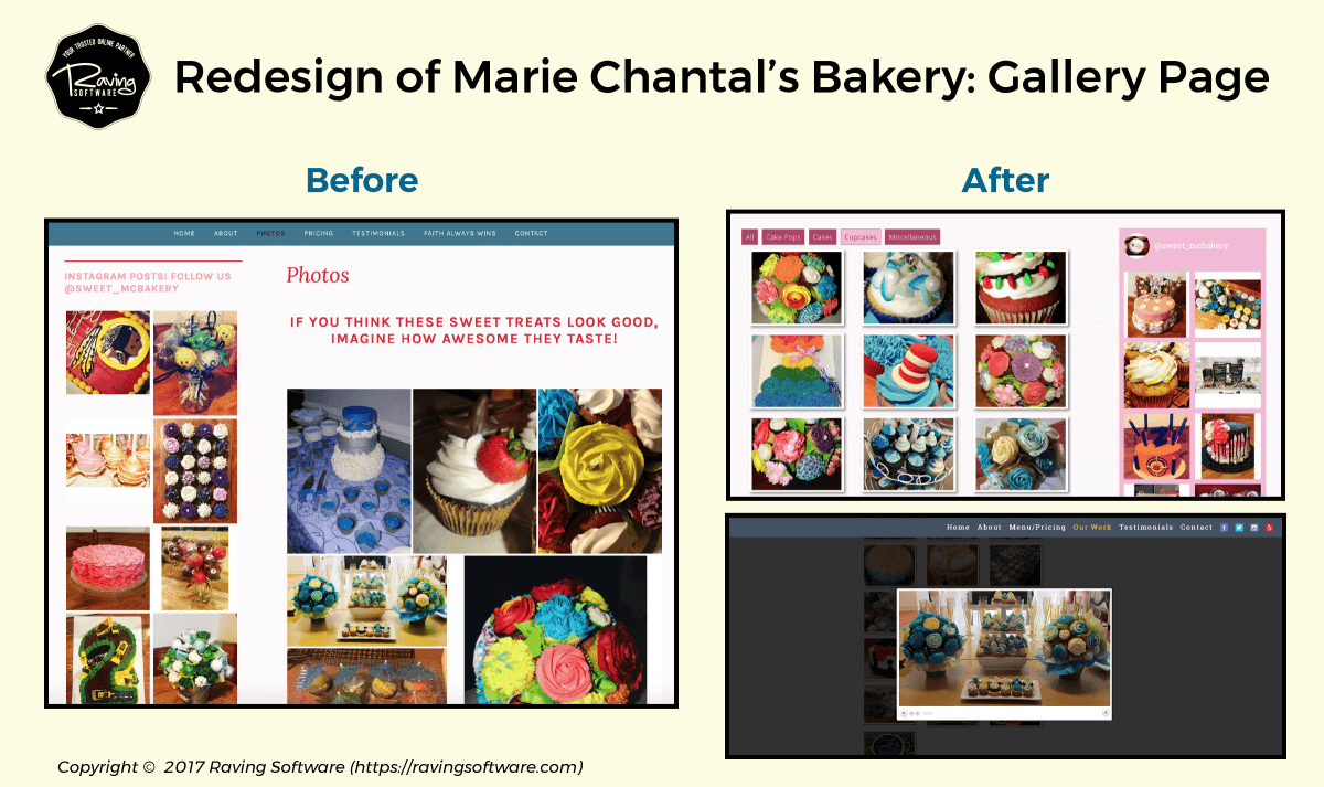Before and After on Marie Chantal's Bakery website redesign for the our work page.