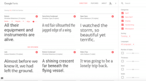 Use Google Fonts to find your typefaces