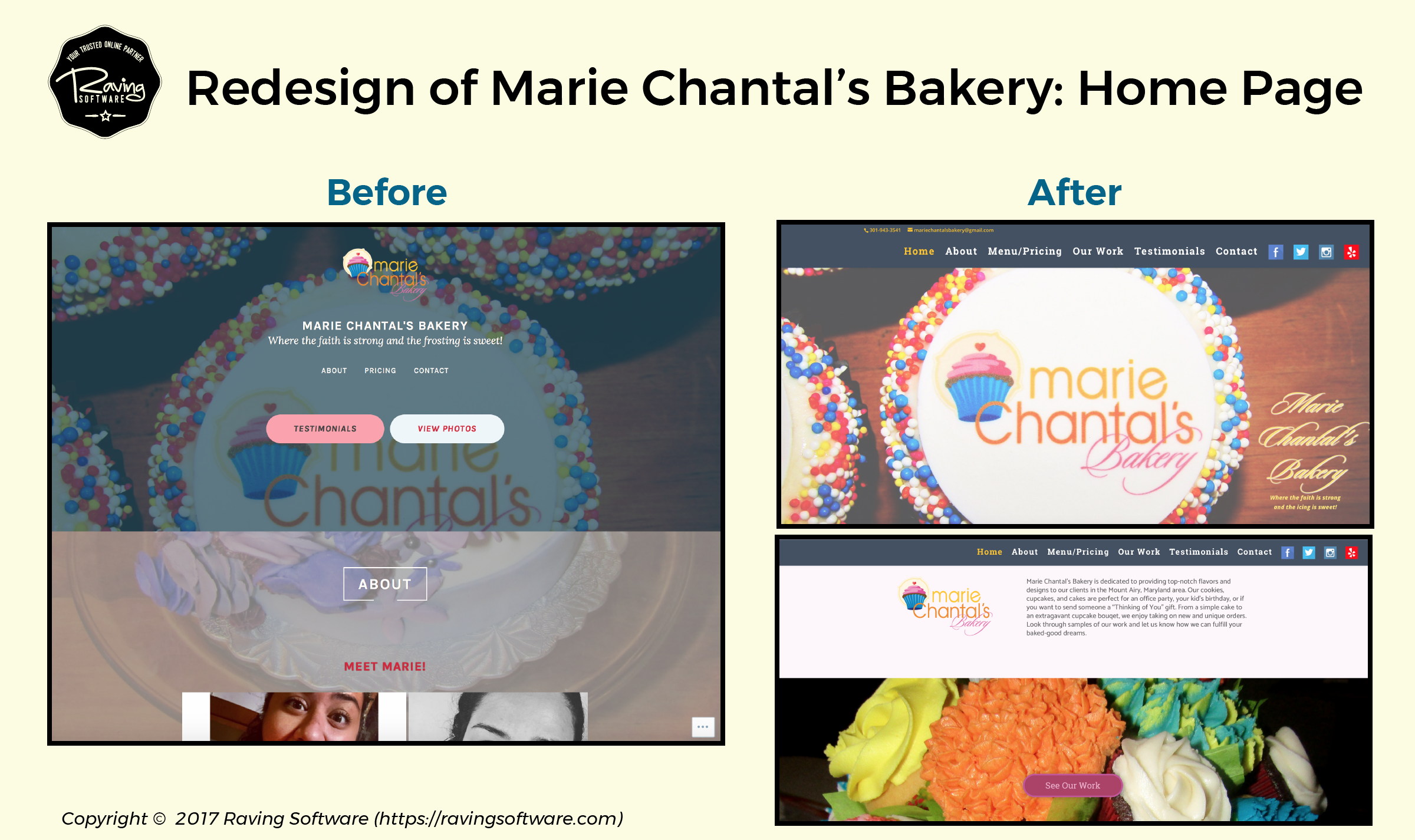Before and After on Marie Chantal's Bakery website redesign for the home page.