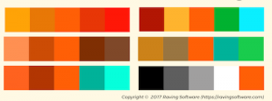 Different color schemes that include orange.