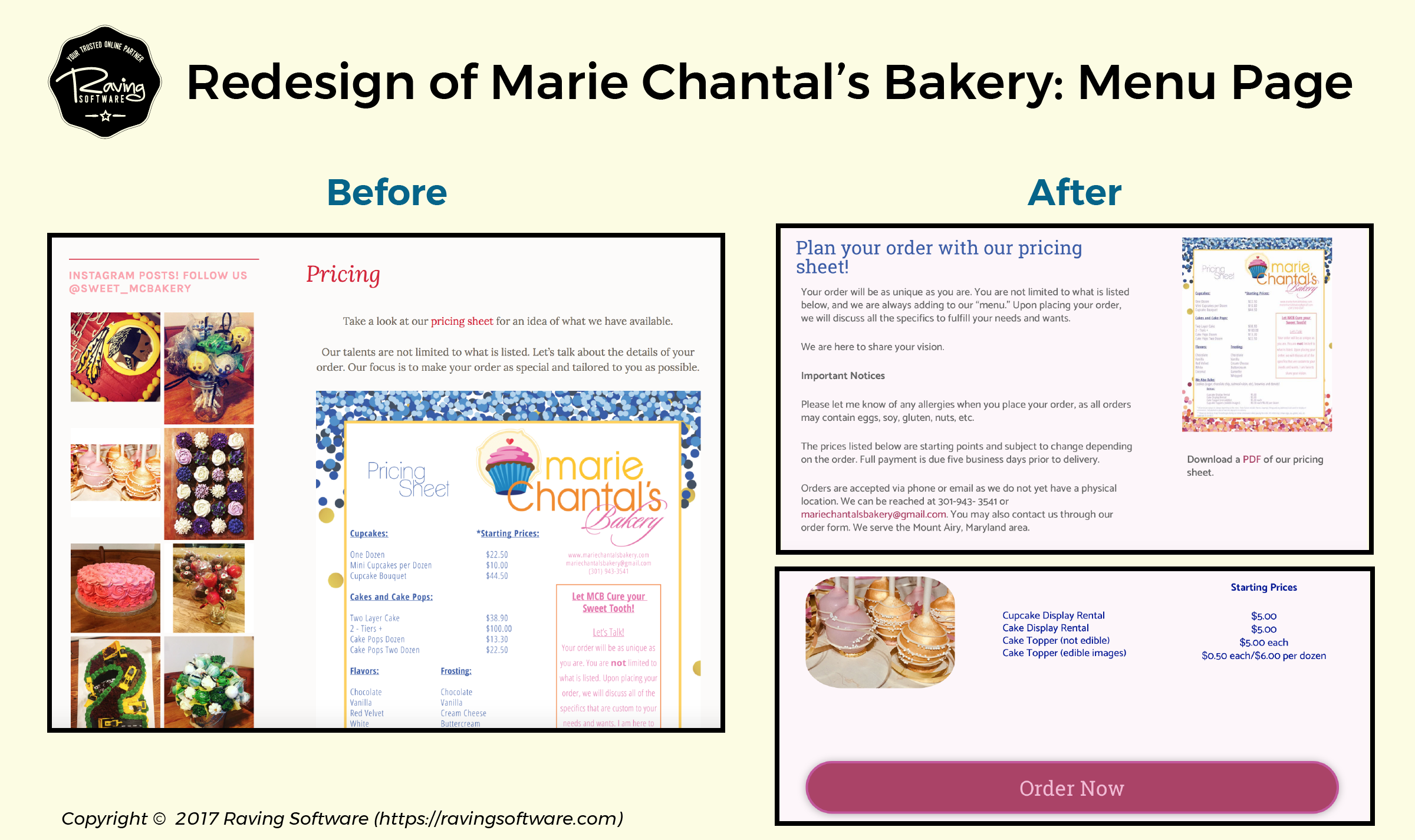 Before and After on Marie Chantal's Bakery website redesign for the pricing page.