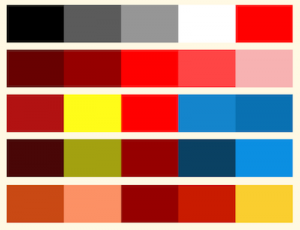 Different color schemes that include the color red.