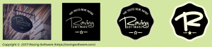 Different versions of the Raving Software logo.