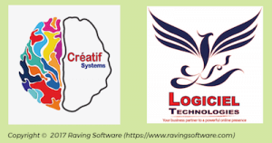 Early designs for of the Raving Software logo.