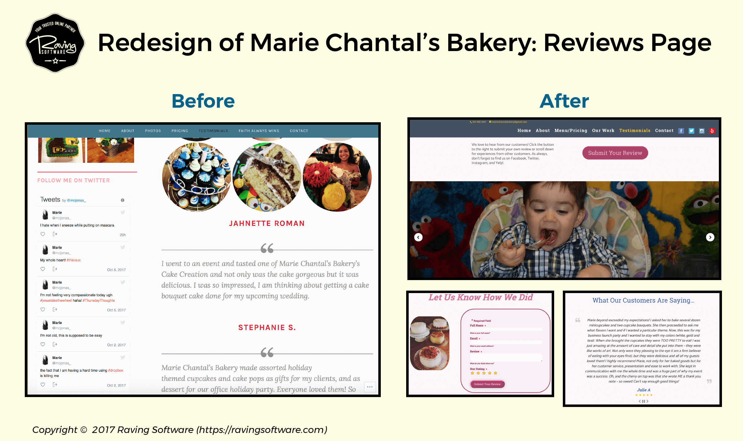 Before and After on Marie Chantal's Bakery website redesign for the testimonials page.