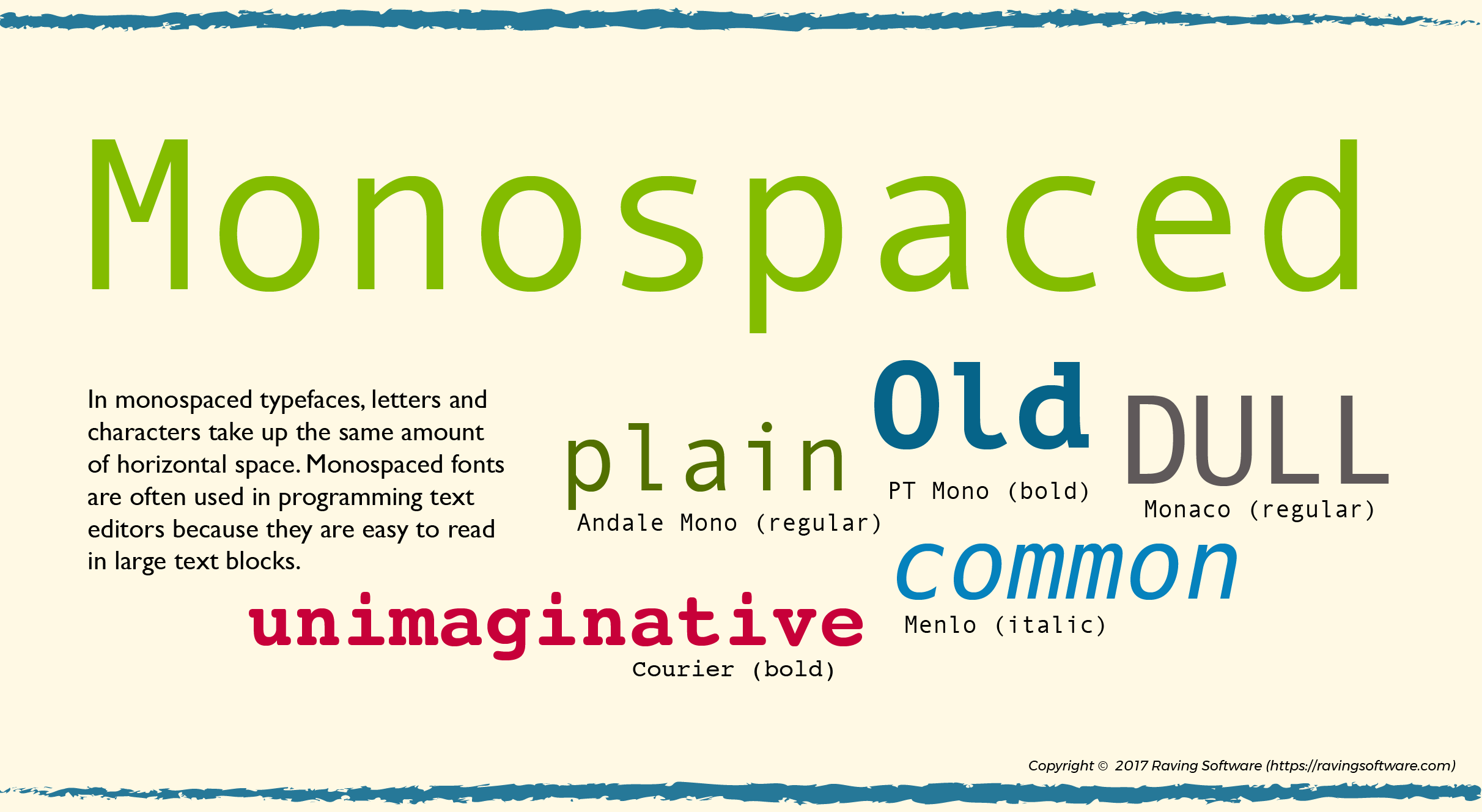 xamples of monospaced typefaces and connotations