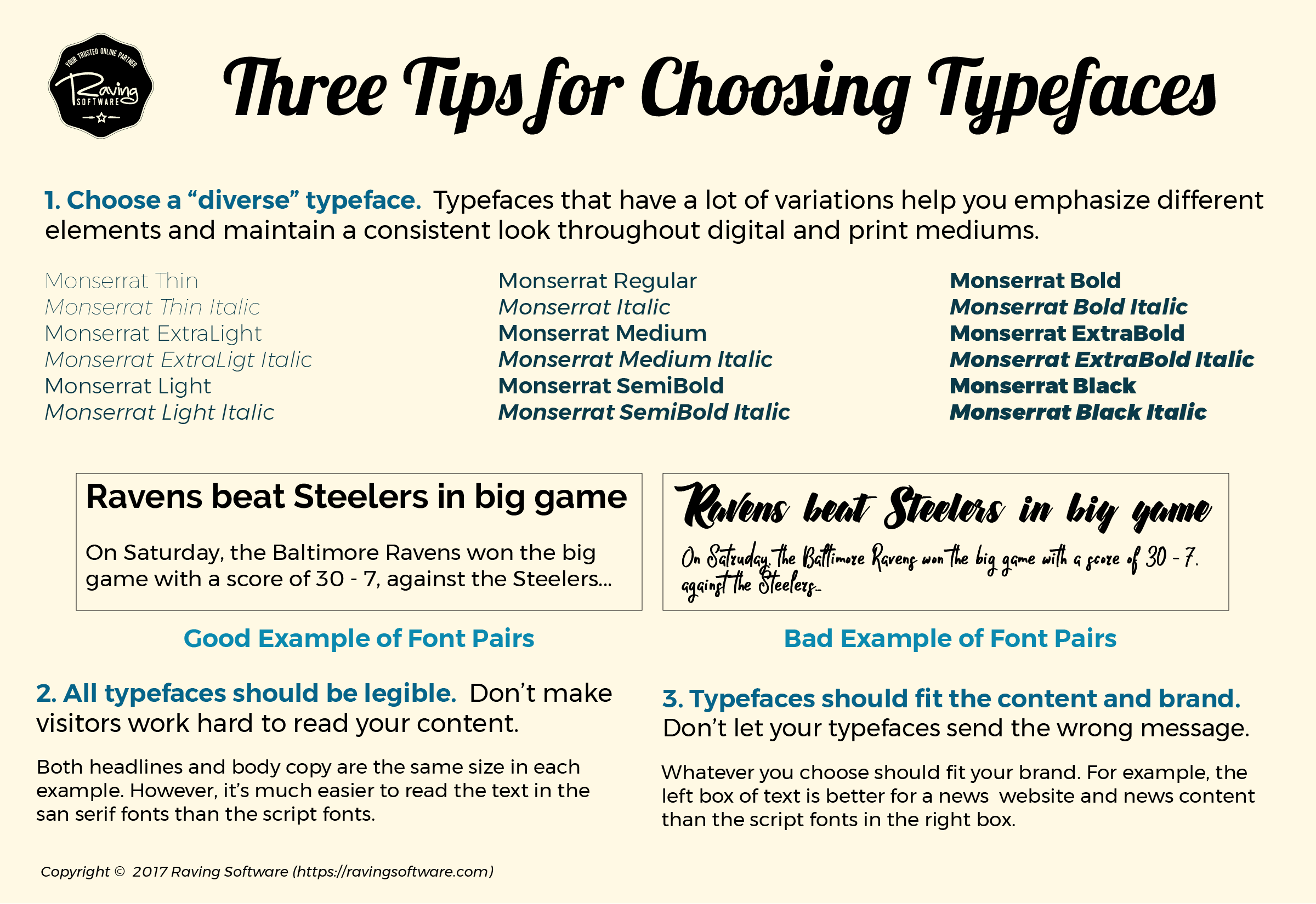 Three tips for choosing typefaces