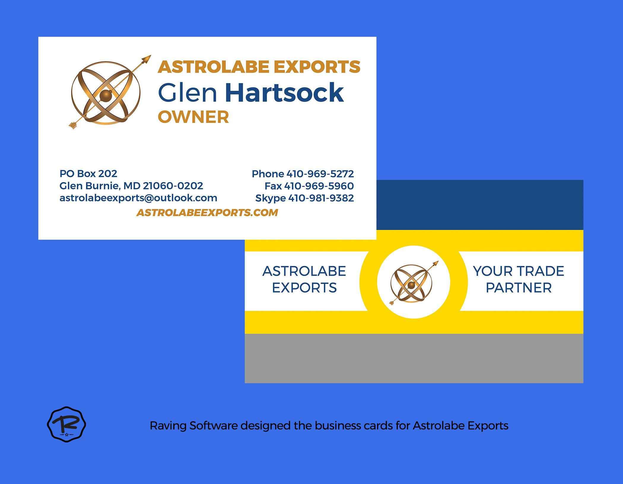Astrolabe Exports business card design by Raving Software
