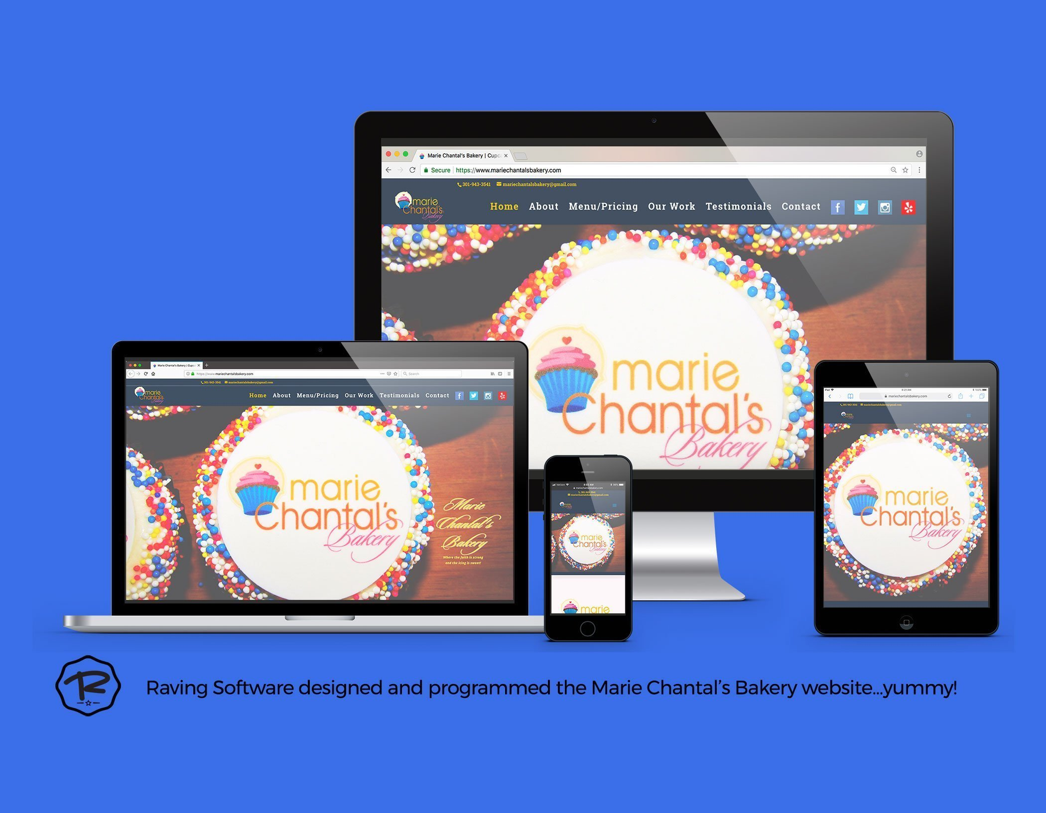Marie Chantals Bakery website created by Raving Software