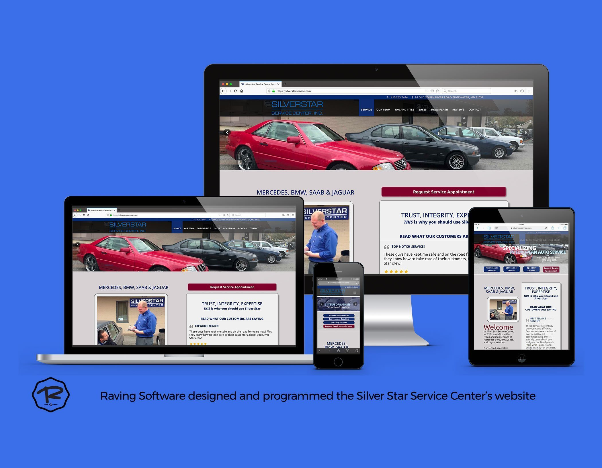Silver Star Service Center website created by Raving Software